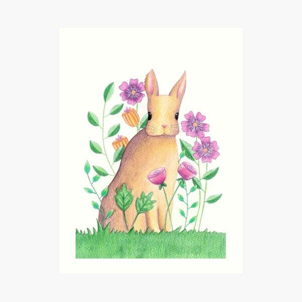 Rabbit In Flowers Art Print