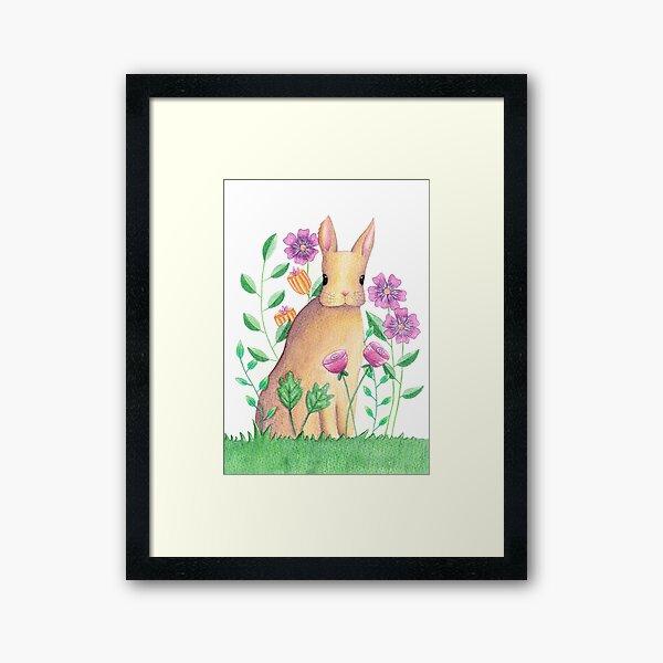 Rabbit In Flowers Framed Art Print