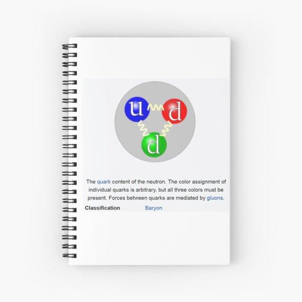 Physics Prints, Neutron, Physics, Quarks, Gluons, Baryon, Subatomic Particle Spiral Notebook