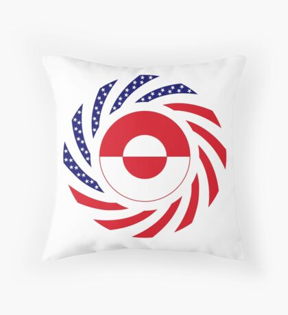 Greenlandic American Multinational Patriot Flag Throw Pillow
