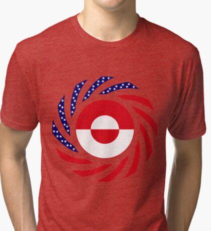 Greenlandic American Multinational Patriot Flag Tri-blend T-Shirt