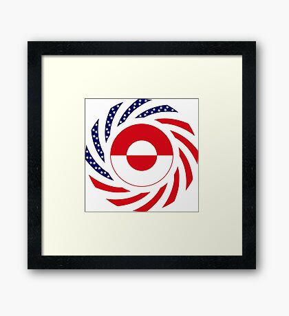 Greenlandic American Multinational Patriot Flag Framed Print