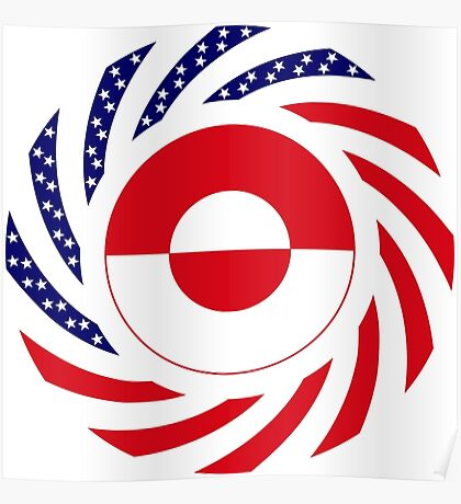 Greenlandic American Multinational Patriot Flag Poster
