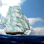 A Cloud of Sails on a Vintage Ship 1843 by Dennis Melling