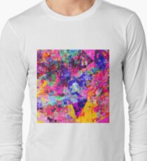 colorful psychedelic geometric splash painting abstract background in pink blue yellow orange green Long Sleeve T-Shirt