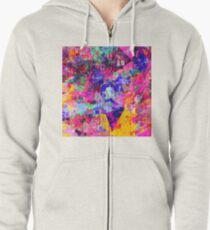 colorful psychedelic geometric splash painting abstract background in pink blue yellow orange green Zipped Hoodie