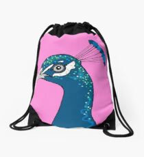 Peacock Portrait ( pink ) Drawstring Bag