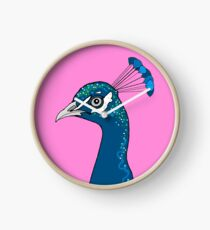 Peacock Portrait ( pink ) Clock