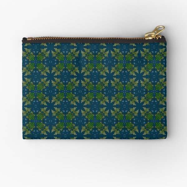Fancy fish with bubbles dark blue Zipper Pouch