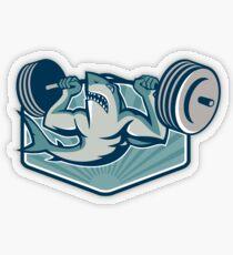 Shark Weightlifting Mascot Pegatina transparente