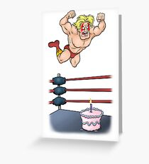 Wrestler Body Slamming Birthday Cake Greeting Card