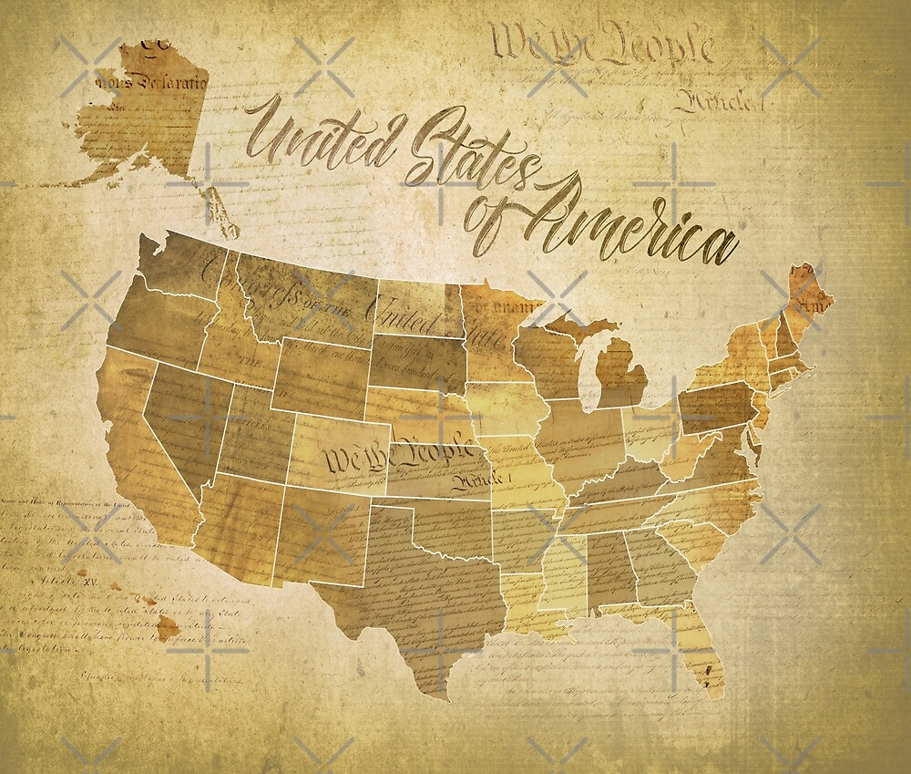 Vintage United States of America (USA) Map with Constitution, Bill
