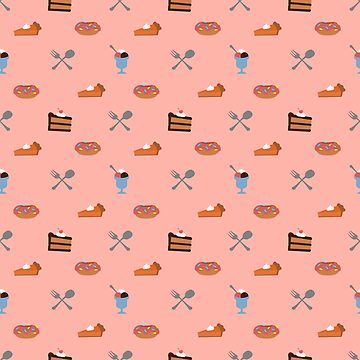 Sweets! Ice cream, pumpkin pie, doughnut, chocolate cake, fork and spoon pattern. by null-painter