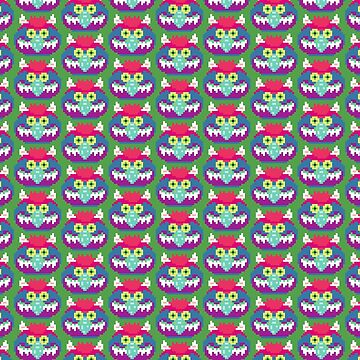 My Pet Monster in Green PATTERN - 8 bit, Geometric, Block, Square, Gray, Purple, Pink, Hot, Teal, Mint, Green, Vintage, Retro, Inspired, 80s, Baby, Blue, Yellow, Coral by CanisPicta