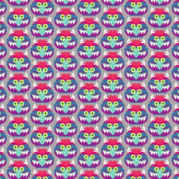 My Pet Monster in Grey PATTERN - 8 bit, Geometric, Block, Square, Gray, Purple, Pink, Hot, Teal, Mint, Green, Vintage, Retro, Inspired, 80s, Baby, Blue, Yellow, Coral by CanisPicta