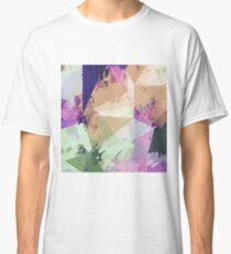 psychedelic geometric triangle polygon pattern abstract in pink green brown blue Classic T-Shirt