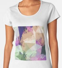 psychedelic geometric triangle polygon pattern abstract in pink green brown blue Women's Premium T-Shirt