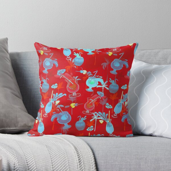 Tiki Cocktails in Red Throw Pillow