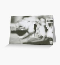 Bride and groom cake topper wedding marriage banquet black and white analog 35mm film photo Greeting Card