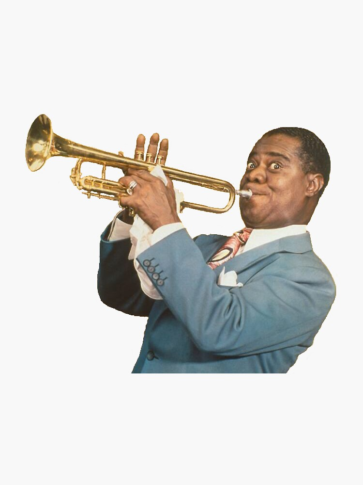 louis armstrong sticker by mycabbagess17 redbubble