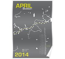 Boston Marathon Map 2014 Poster