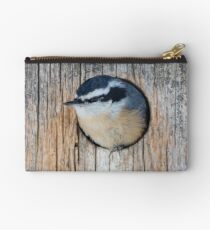 Red-breasted Nuthatch in Birdhouse Zipper Pouch