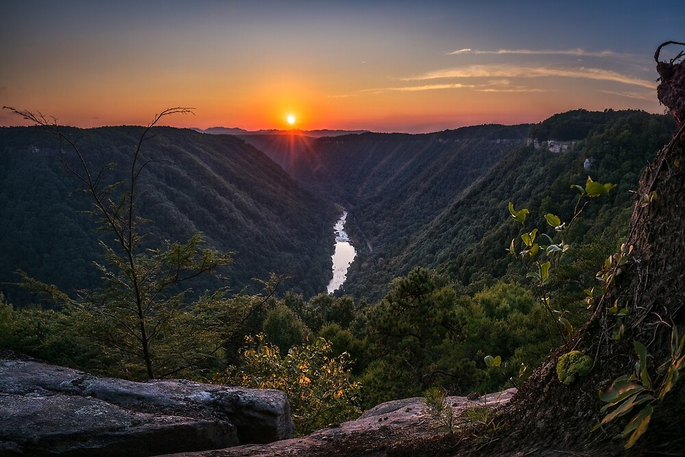 Sunset on the New River Gorge, West Virginia by mattmacpherson