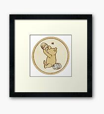 Pooh Bear Honey Pot Vintage Framed Print