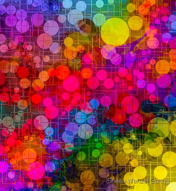 Rainbow Bubbles Abstract Design by Sheila Wenzel Ganny