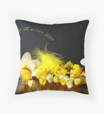 Chicks' Easter Smile Rehearsal Throw Pillow
