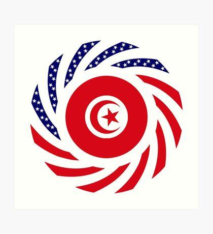 Tunisian American Multinational Patriot Flag Series Art Print