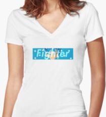 Super Supreme Blue (Fighter Vers.) Women's Fitted V-Neck T-Shirt