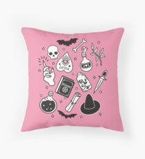 Witchy Essence Pink Throw Pillow