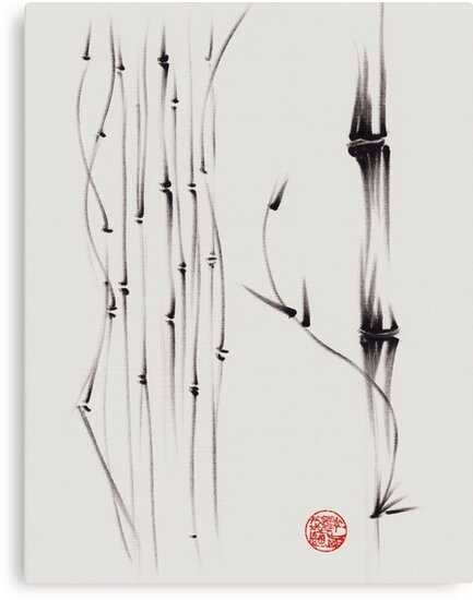 'the quiet forest' - ink brush pen bamboo drawing/painting by Rebecca Rees