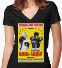 Basquiat Warhol Poster Women's Fitted V-Neck T-Shirt