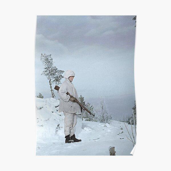 Finnish soldier near Lake Ladoga, Winter War, 1940 Poster