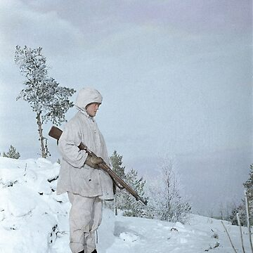 Finnish soldier near Lake Ladoga, Winter War, 1940 by cassowaryprods