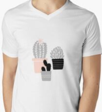 Succulents - gray pink Men's V-Neck T-Shirt