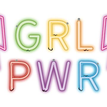 GRL PWR Girl Power Bolts Classic Vintage Retro Neon Light Style Feminist Feminism LGBT Rainbow Pride by milibadic