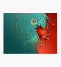 Red Heart with Butterfly Photographic Print
