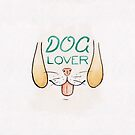 Dog Lover - Watercolour Illustration of Dog Mouth, Tongue, Nose and Whiskers With Calligraphy Lettering Quote by arosecast