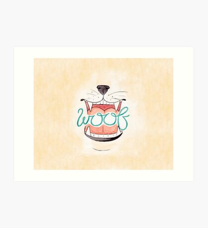 Woof - Watercolour Illustration of Dog Mouth, Tongue, Nose and Whiskers With Calligraphy Lettering Quote Art Print