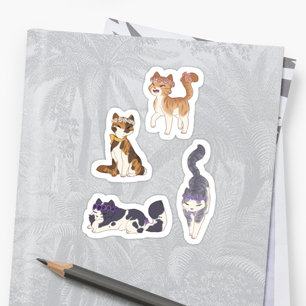 Flower Crown Cat Stickers Stickers By Honeynuggets Redbubble