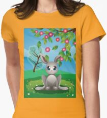White Rabbit on Lawn Womens Fitted T-Shirt