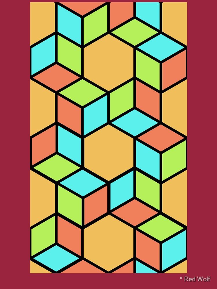 Geometric Pattern: Hexagon Box: Summer by redwolfoz