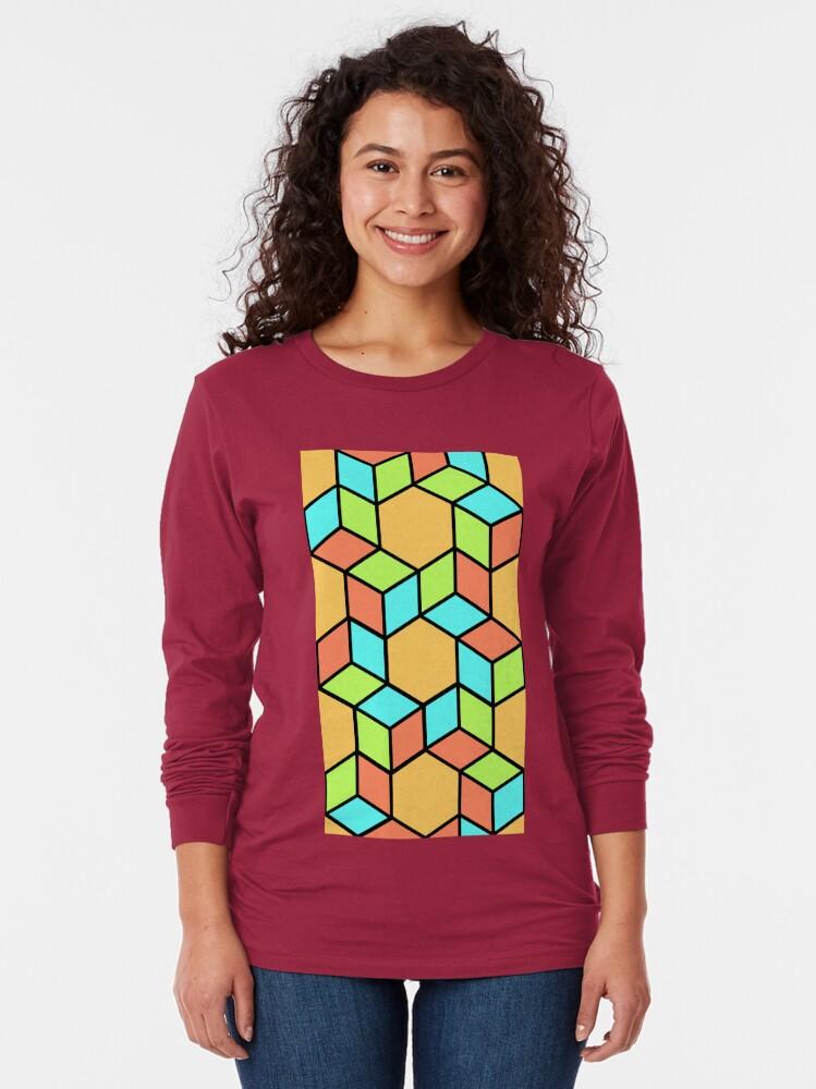 Alternate view of Geometric Pattern: Hexagon Box: Summer Long Sleeve T-Shirt