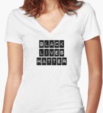 Black Lives Matter (Black Blocks Over White) Women's Fitted V-Neck T-Shirt