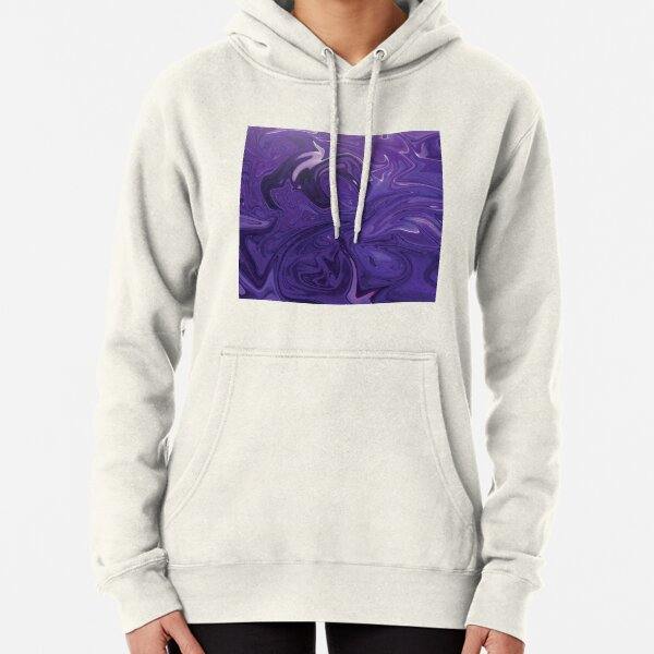 Marble Abstract - Purple Navy swirls Pullover Hoodie