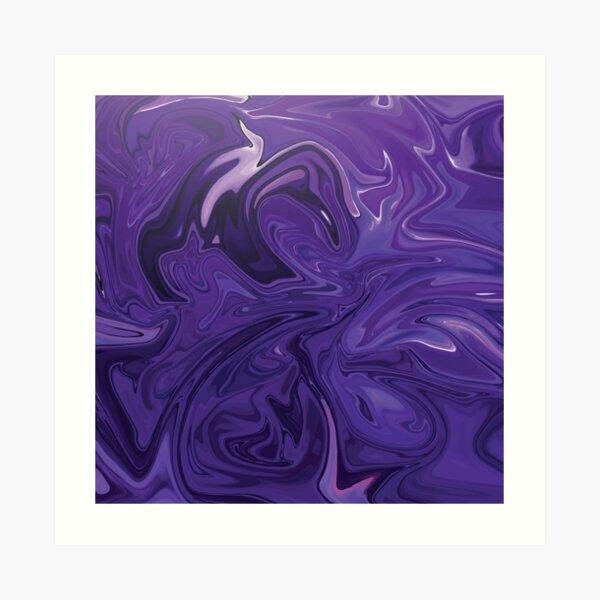 Marble Abstract - Purple Navy swirls Art Print