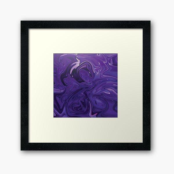 Marble Abstract - Purple Navy swirls Framed Art Print